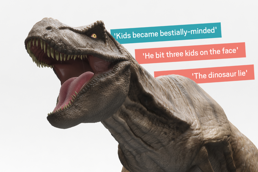 Christian tries to wipe out dinosaurs from classrooms in bizarre Mumsnet post after child 'bites three kids on face'