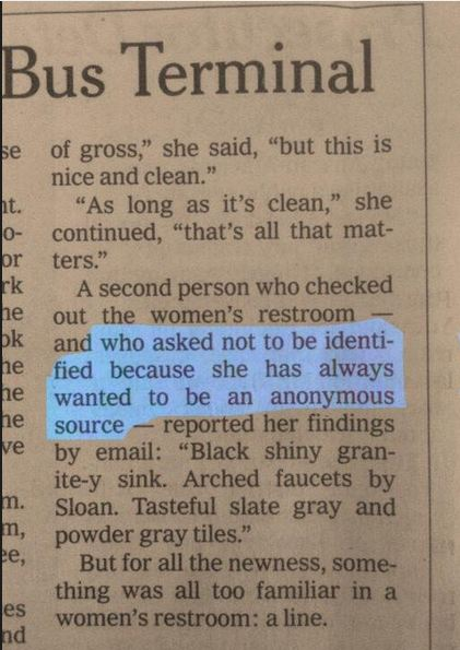 Woman wants to be quoted as an anonymous source in newspaper for the best possible reason