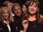 'My mother stood in this exact spot': Dakota Johnson hosts SNL as parents Melanie Griffith and Don Johnson cheer her on