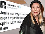 Joni Mitchell 'awake' after being rushed to intensive care
