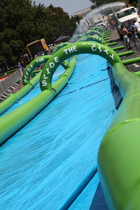 Slide through the city on this 1,000ft water chute