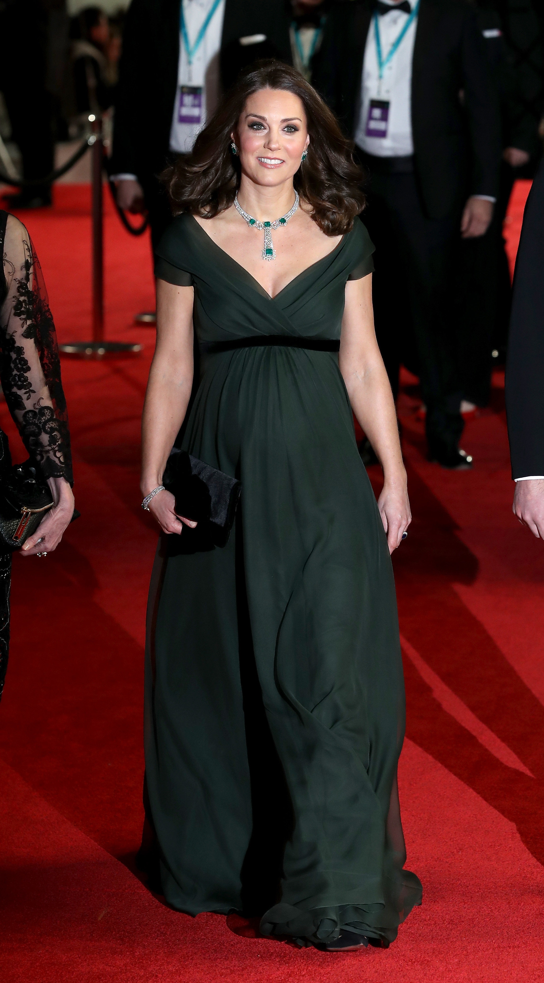 Baftas 2018: The Duchess Of Cambridge Stands Out In Green Gown Amid Black Dress Protest