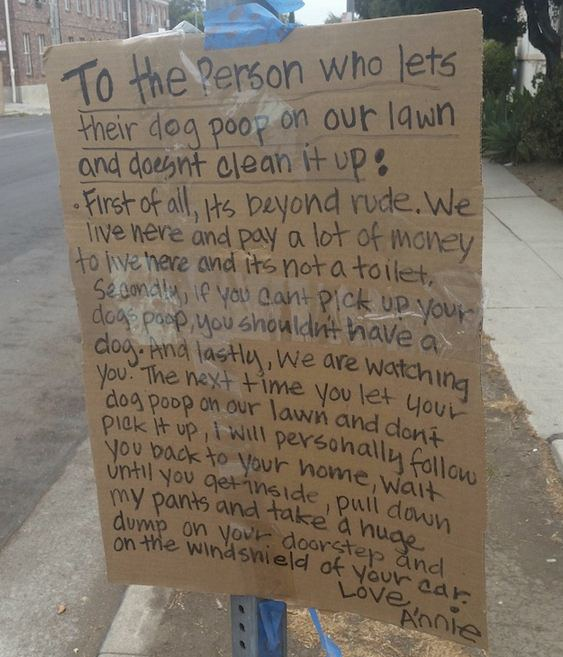Woman threatens pet owners who let dogs poop on her lawn with strange punishment