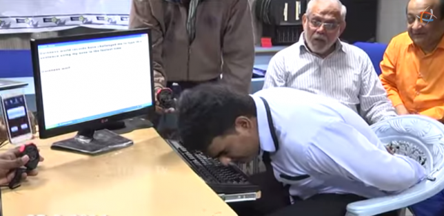 This man has set a world record for typing with his nose