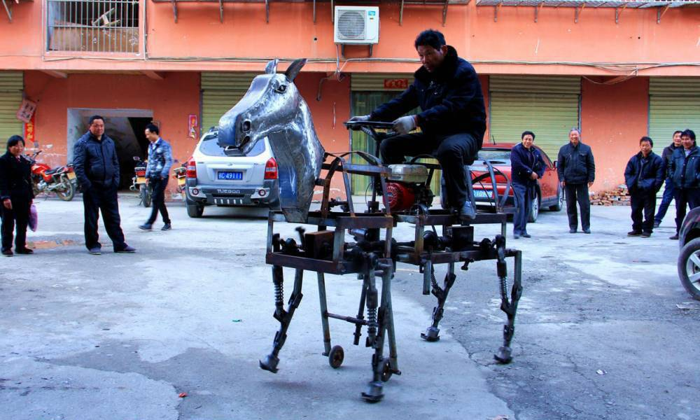 Chinese inventor builds a working mechanical horse