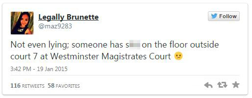 Solicitor's shock at finding poo on floor at Westminster Magistrates' Court