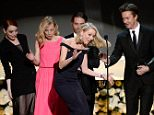 Birdman wins top honour at SAG Awards… but Naomi Watts is left in a flap as she trips over Emma Stone's dress during acceptance speech