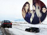 Kardashian sisters spin off road in icy crash: Khloe crashes across oncoming traffic and into a ditch with Kim, Kylie and North on drive to airport after Montana trip