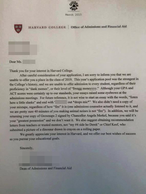 '$wag moneyyyy': Harvard College rejection letter is blowing up the internet