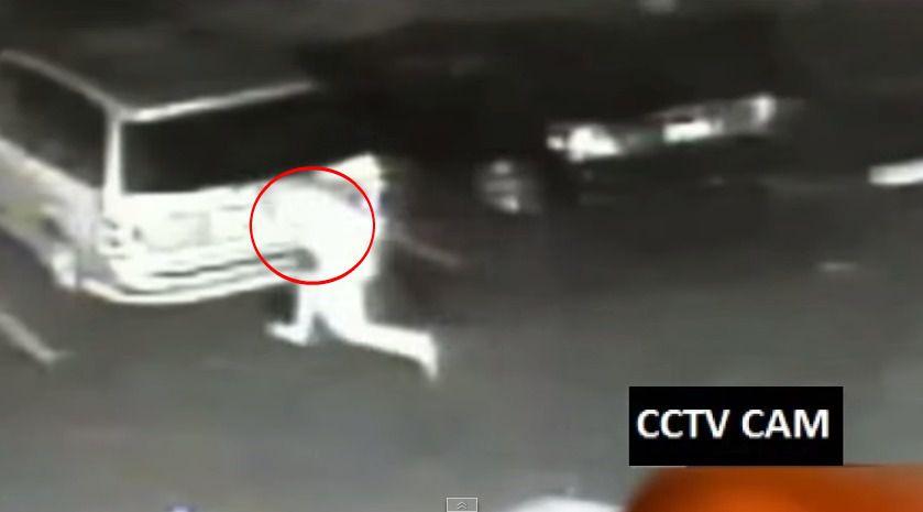 Naked man legs it across car park, runs into parked car