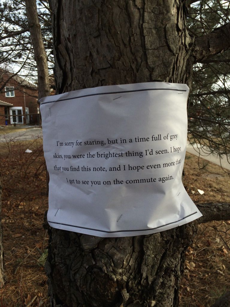 Romantic note stapled to tree will make you smile