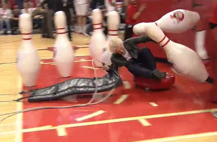 Sir Richard Branson used as a human bowling ball… he survives