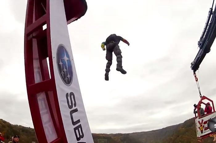 Video shows base jumpers being flung over bridge in DIY human catapult