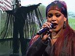 Rihanna rocks baggy denim and floor-length fringed jacket for SNL