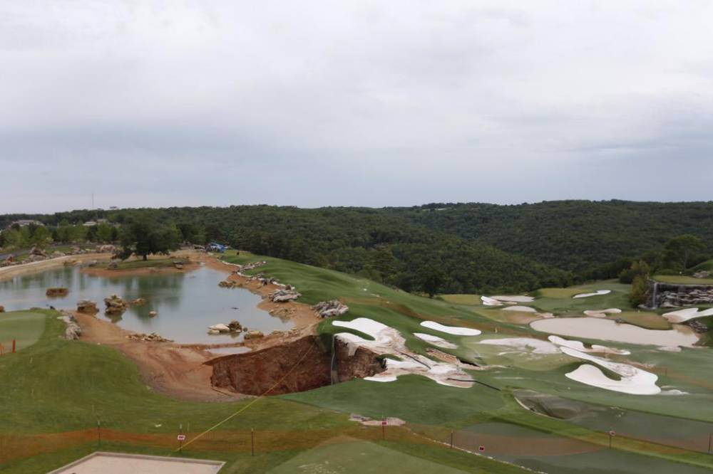 35 foot deep sinkhole opens up on golf course