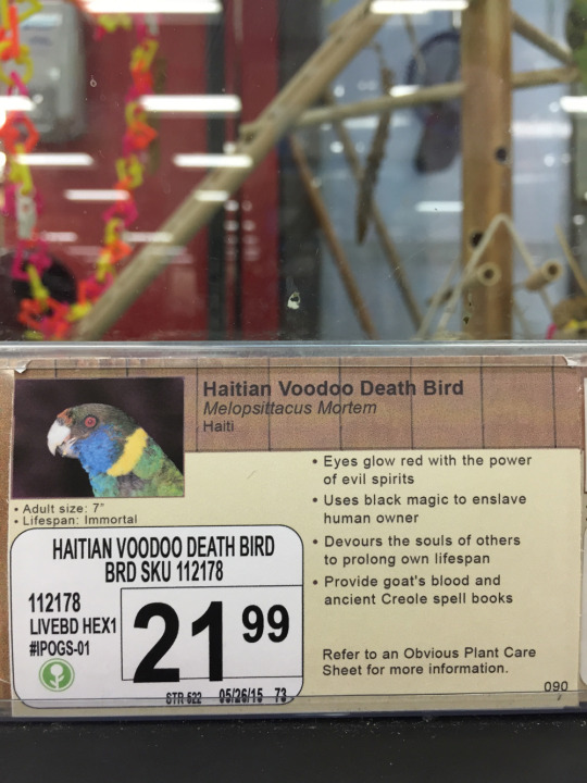 A prankster has livened up a pet store by creating labels for imaginary animals