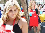Taylor-Ann Hasselhoff turns up to help at the LA Mission's Block Party