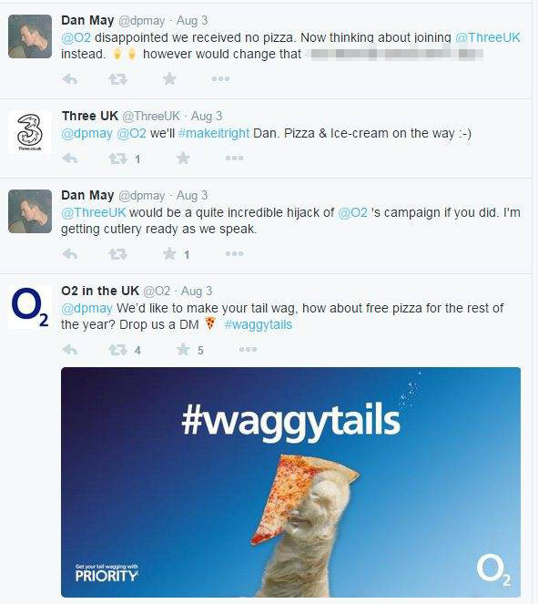 Someone just got free pizza until 2016 by playing O2 and Three against each other on Twitter
