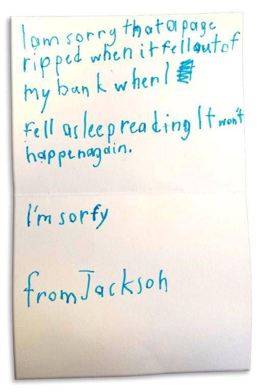 Toddler accidentally tears library book, writes cutest apology ever