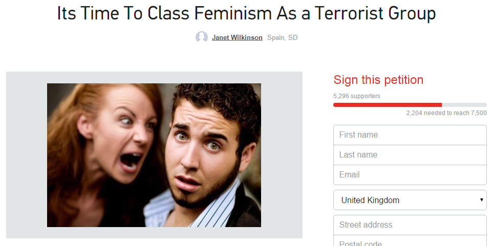 Someone has started a petition to class feminism as a 'terrorist group'