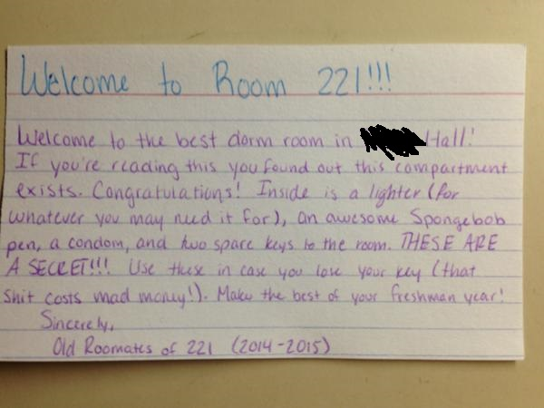 University fresher finds genius welcome package behind panel in wall