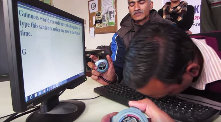 The world record for typing with your nose has been broken, again