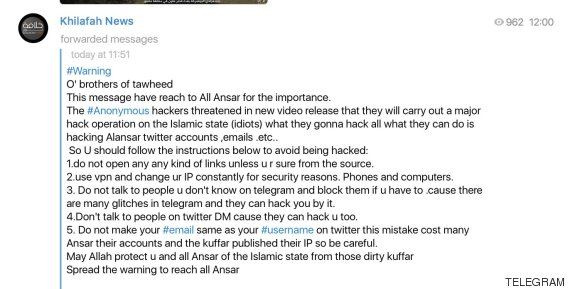Anonymous hack forces Isis to send out these questionable 'online safety' guidelines