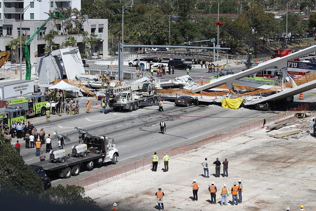 Miami Bridge Collapse: 'Up To 10' People Killed As Newly-Built Pedestrian Bridge Crushes Vehicles In Florida
