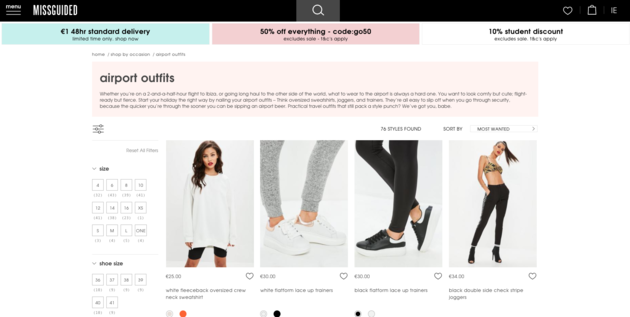 Boohoo, Missguided And Pretty Little Thing Have 'Airport Outfit' Sections