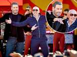 John Travolta joins Pitbull onstage Central Park concert to promote their movie Gotti