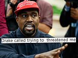 Kanye West claims Drake 'threatened' him as the rapper goes on Twitter rant