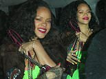 Rihanna lives it up in racy fluro green dress as she heads home after celebrating her 31st birthday