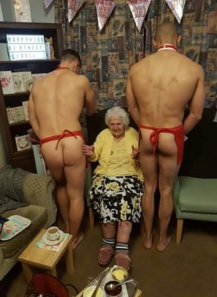Great-great grandma celebrates 100th birthday with naked butlers