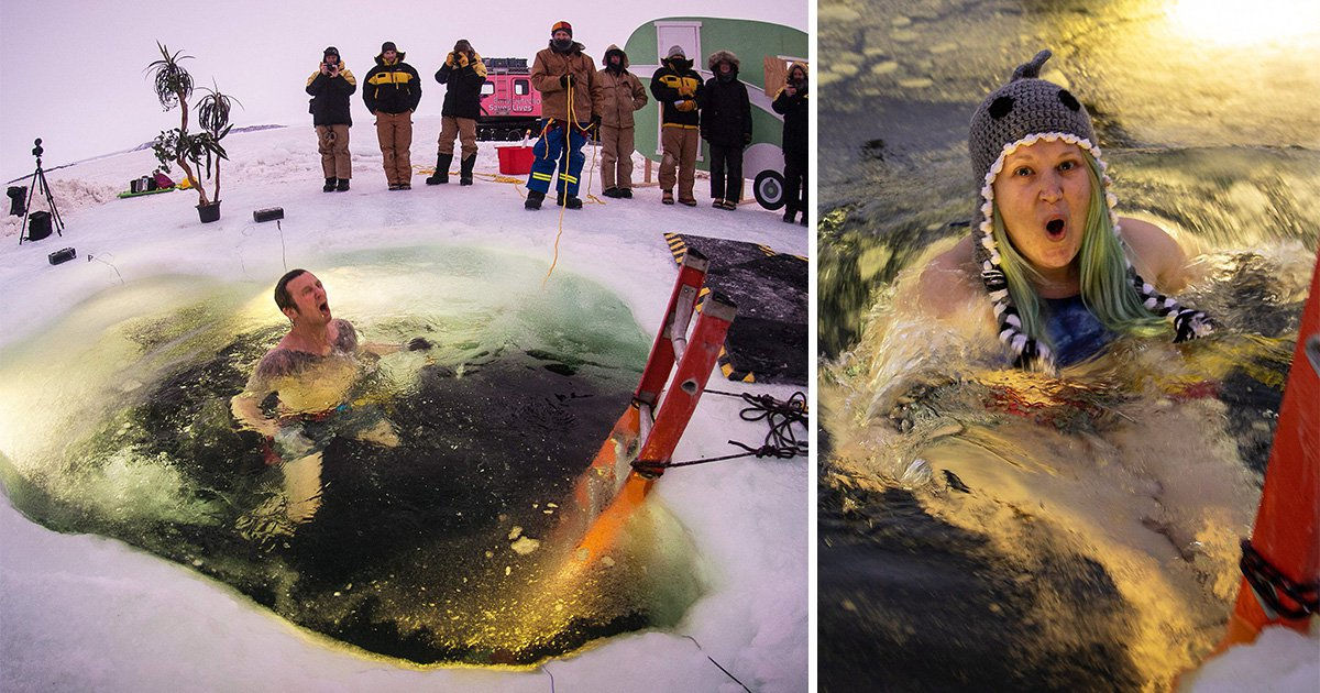 Antarctic workers mark mid-winter by plunging into the ice in swimwear