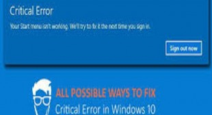 How to Fix Start Menu Critical Error in Windows 10?