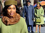 Jennifer Hudson channels '50s chic as she films scenes for Aretha Franklin biopic Respect