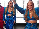 Jennifer Lopez flashes her toned midsection during a promo