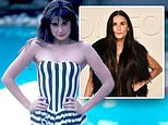 Demi Moore, 57, poses in a strapless striped swimsuit in a flashback 80s-era Instagram post