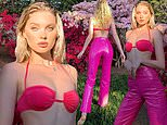 Elsa Hosk wears pink bra top in Instagram photo in garden