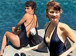 Victoria's Secret model Helena Christensen, 51, poses in a plunging swimsuit at home