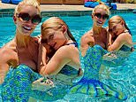 Jessica Simpson cradles her 'Maximaid' daughter in the Olympic-sized pool at her $11.5M mansion
